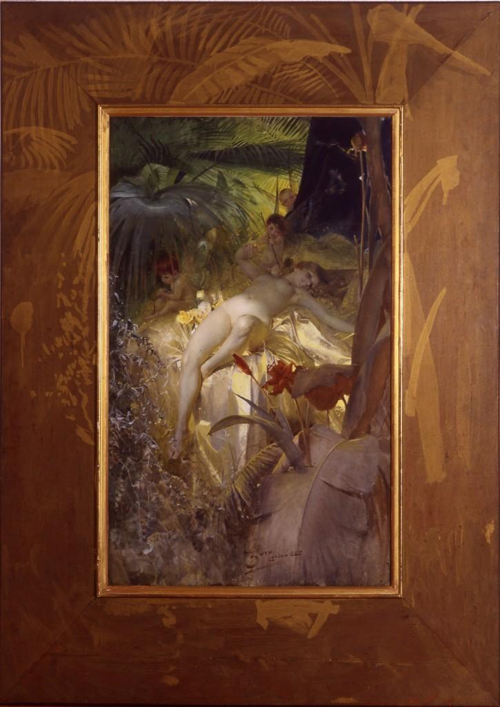 Kärleksnymf, peint à Madrid en 1884, appartient aujourd'hui au Musée national. En 1885, Zorn a peint une autre version du motif à Londres, qui a été vendue 7 millions de SEK à Stockholm Auctionsverk en 2011, image ©Picture Zorn Museum