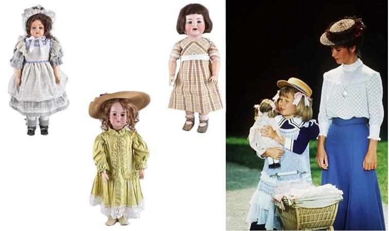 """Linke: SCHILDKRÖT Mädchen mit Celluloid-Brustkopf, um 1908 Mitte: ARMAND MARSEILLE Große Puppe mit Bisquit-Kurbelkopf, um 1900 Rechts: KÄMMER & REINHART - Puppe """"Unart"""", angefertigt durch SIMON & HALBIG, um 1916"""