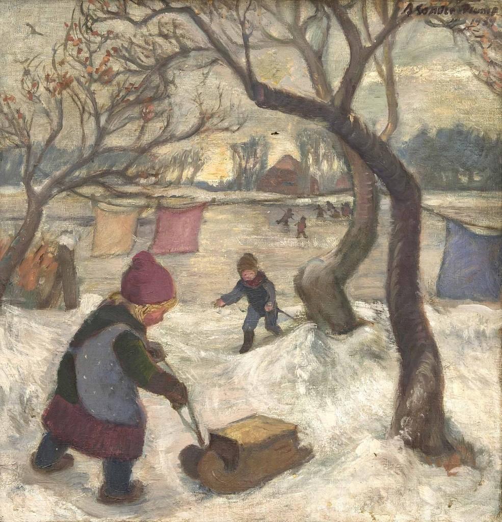 AGNES SANDER-PLUMP (1888 Bremen - 1980 Lilienthal) - Rodelnde Kinder, Öl/Lwd., 46,5 x 44,5 cm, signiert und datiert, 1939 Mindestpreis: 2.500 EUR