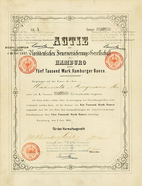Norddeutsche Feuerversicherungs-Gesellschaft - Hamburg, 01.06.1868, Gründer-Namensaktie über 5.000 Mark Hamburger Banco, davon 1.000 Mark Banco eingezahlt, weitere Stempel über Einzahlungen in Höhe von 10, 15 und 30 Prozent des Nennbetrages , Lit. A, #11 Ausruf: 2.300 EUR