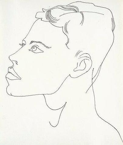 """Andy Warhol """"Homme non identifié"""" vers 1956 Stylo à bille noir sur papier de Manille Provenance: La succession d'Andy Warhol, New York. La Fondation Andy Warhol pour les arts visuels, New York. Vendu chez Bukowskis en 2015 pour 22 600 $"""
