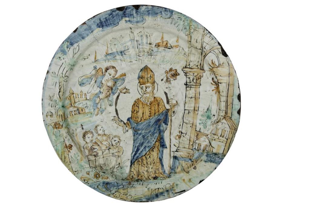 Großer Teller mit dem Wunder des Hl. Nikolaus, Deruta 17. Jh. Schätzpreis: 8.000-10.000 EUR