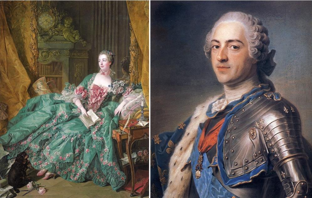 Links: François Boucher - Madame de Pompadour, 1756 Rechts: Maurice Quentin de La Tour - Louis XV, 1748