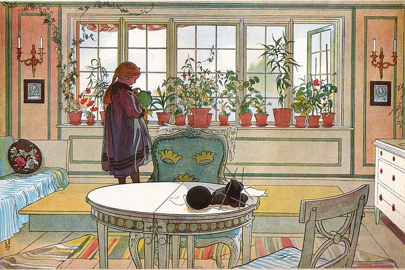 Blomsterfönstret av Carl Larsson 1894. Bild Wikimedia Commons
