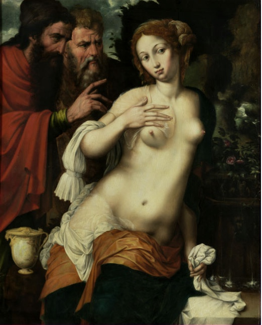 VINCENT SELLAER (tätig um 1538 - 1544) - Susanna und die beiden Alten, Öl/Holz, 103 x 83 cm Schätzpreis: 100.000-200.000 EUR