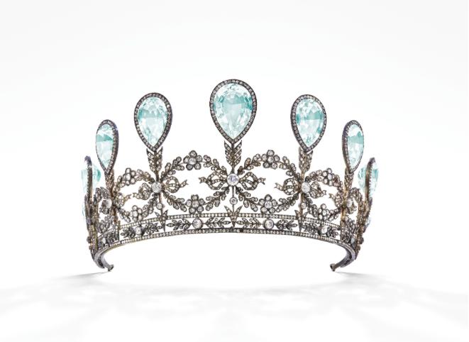 La tiara con acquamarina e diamanti. Immagine: Christie's