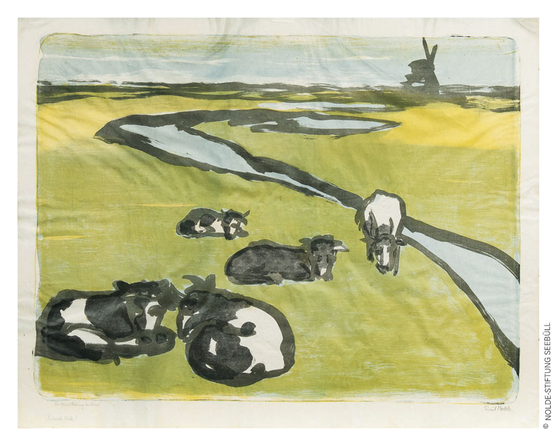EMIL NOLDE (1867 Nolde - Seebüll 1956) - Ruhende Kühe, Farblithographie/Japanbütten, signiert und betitelt, 1926   © Nolde-Stiftung Seebüll