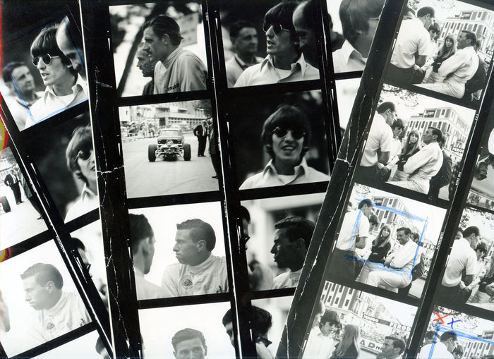 3 original contact sheets of photographs made of Beatles guitarist George Harrison and his girlfriend Patti Boyd visiting the Formula 1 Grand Prix of Monaco in 196