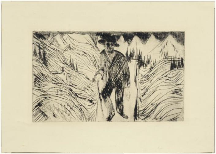Ernst Ludwig Kirchner (Aschaffenburg 1880-1938 Frauenkirch/Davos) - Der Wanderer, torrnål, det tredje av nio kända exemplar. 18,2 x 30,5 cm, 1922. Utropspris: 129 000 - 173 000 kronor.