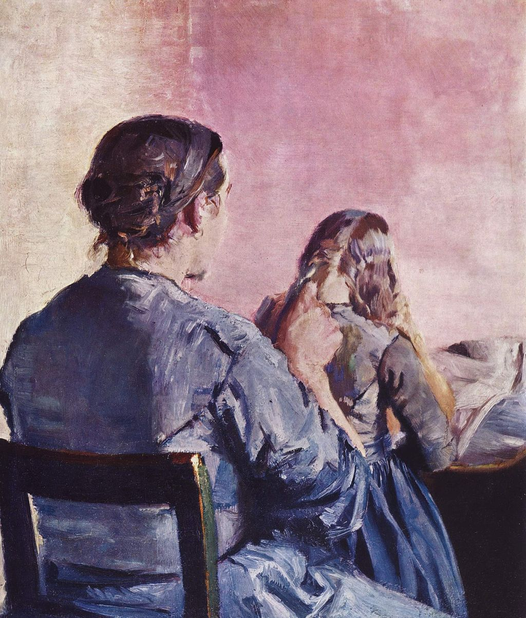 Christian Krohg, Håret flettes, år 1882. Foto via Wikipedia.