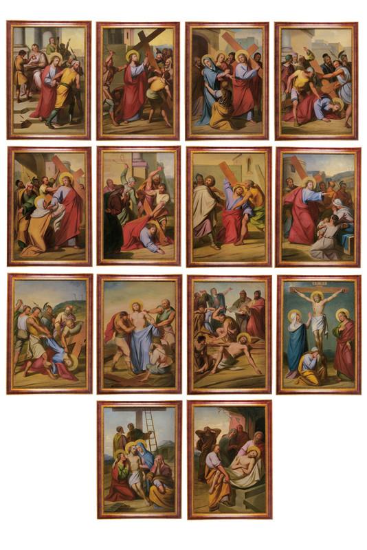 Der Kreuzweg in 14 Bildern, Öl/Lwd., 1 x mit deutscher Inschrift, 98,5 x 66 cm, Österreich 3. Viertel 19. Jh. Schätzpreis: 4.500-6.500 EUR