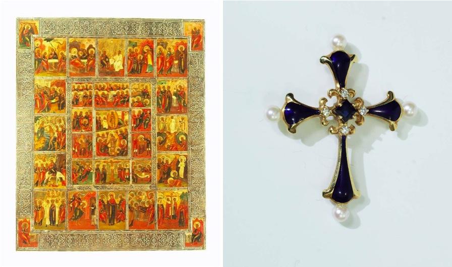 "Links: ""Erweiterte Festtagsikone"", Tempera/Holz, Zentralrussland um 1800 | Rechts: IGOR CARL FABERGÉ - Das Mitternachts-Saphirkreuz, Gelbgold, ca. 1987"
