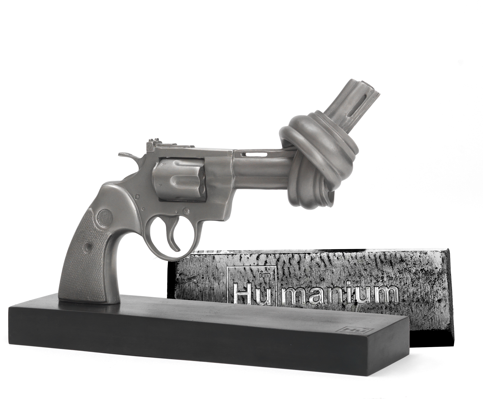 The world famous 'Non-Violence' knotted sculpture is now presented as a limited edition made of Humanium Metal