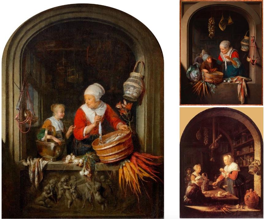 Links: GERRIT DOU (1613 Leiden vor 1675) - Öl/Holz, signiert und datiert, 1651   Rechts oben: Die Heringsverkäuferin und ein Junge, 1670-75   Rechts unten: Der Lebensmittelladen, 1647