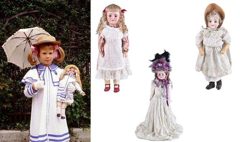 Links: HEINRICH HANDWERCK Bisquitporzellankopf-Puppe, angefertigt durch SIMON & HALBIG Mitte: ERNST HEUBACH Großes Porzellankopfmädchen mit 15-teiligem Gliederkörper, um 1900 Rechts: KESTNER Puppe mit Kopf aus Bisquitporzellan und Körper aus Holz und Masse, um 1880