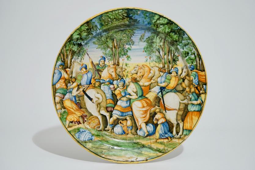 "Großer Majolika-Teller ""Istoriato"", Italien, Urbino 1540-60"