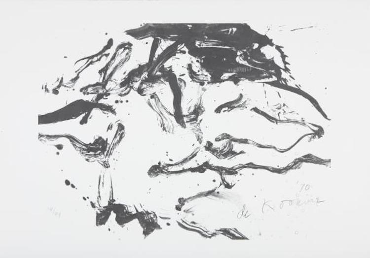 "Willem de Kooning, ""Woman in Amagansett"", 1971. Litografi. Såldes på Phillips ""Editions""-auktion 21 november 2010, i New York. Slagpris 73 100 SEK."