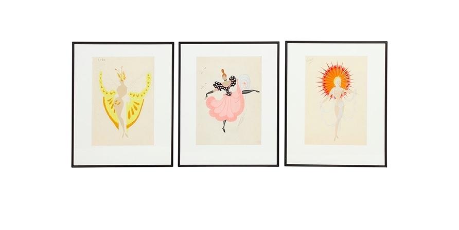"""Erté, i disegni di tre costumi per lo spettacolo """"CanCan"""", 1959-60. Foto: Eppli"""