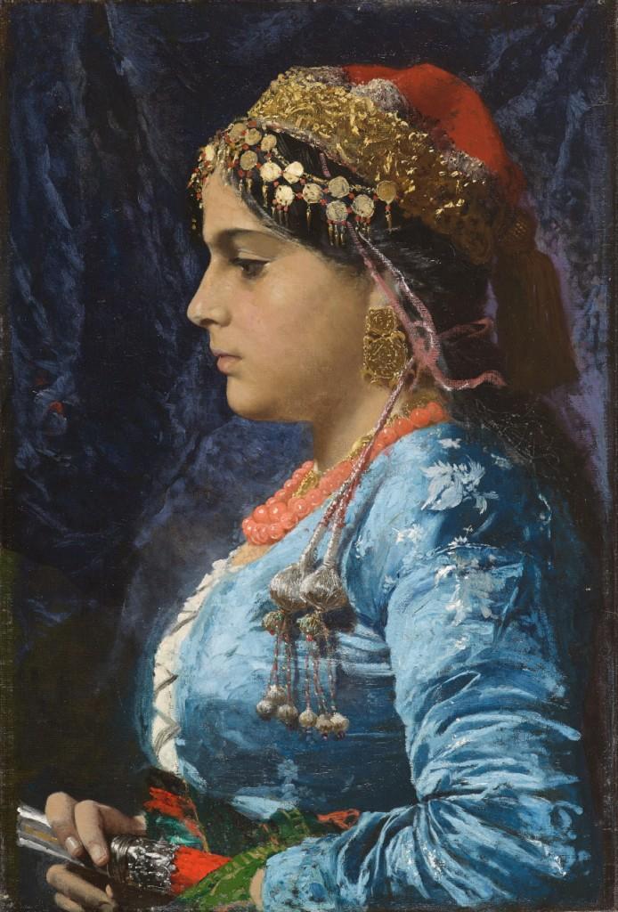 Pio Joris Portrait d'une femme orientale de profil gauche, circa 1890 Huile sur toile Alexis Bordes