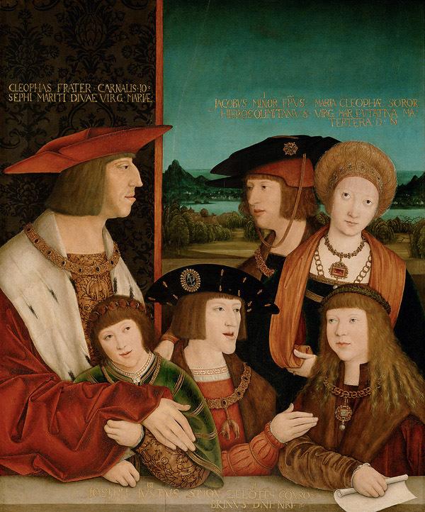 Maximiliano I y Maria de Borgoña con su descendencia masculina
