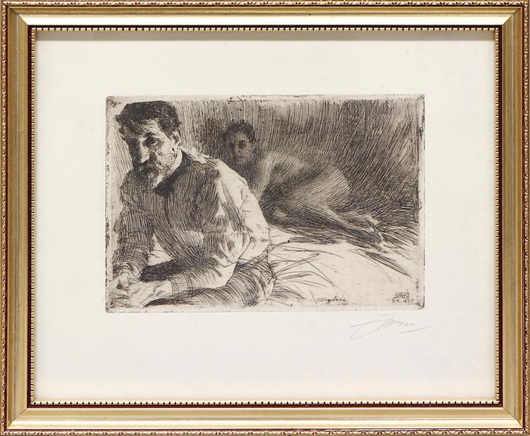"""Anders Zorn. """"Augustus Saint Gaudens II"""". Etsning, plåtstorlek 13,5 x 19 cm. Utförd 1897. Signerad i blyerts. Utrop: 6000 SEK Auktionsbyrån Effecta"""
