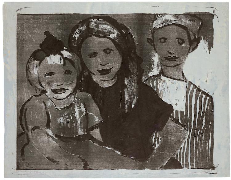 "Emil Nolde. ""Fischerkinder"". 1926. Lithograph in black and grey on thin, grey-blue Japan paper, painted in watercolors. Precio mínimo estimado: 70 000 EUR. Grisebach"