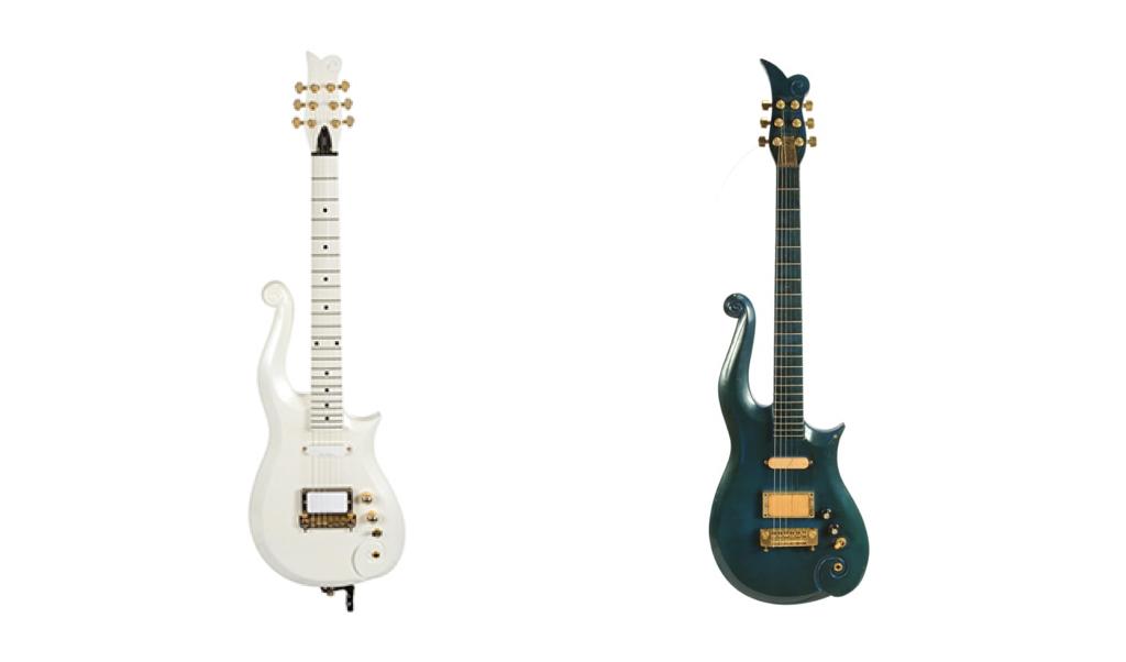 Gauche : Guitare Scheter « White Cloud », droite : guitare vendue en 2017 par Julien's Auctions, images ©Julien's Auctions