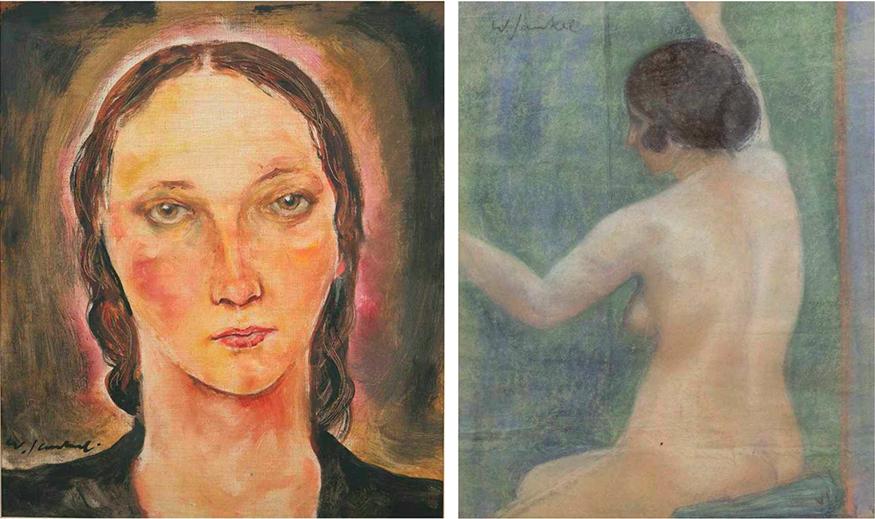 Willy Jaeckel (1888 Breslau/Wroclaw-1944 Berlin) Links: Mädchenkopf, Öl/Lwd., signiert, um 1923    Rechts: Weiblicher Rückenakt, Pastell, signiert und datiert, 1921