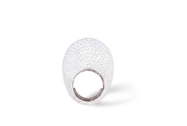 Bombé-shaped Diamond Cocktail Ring. Photo: Adam's