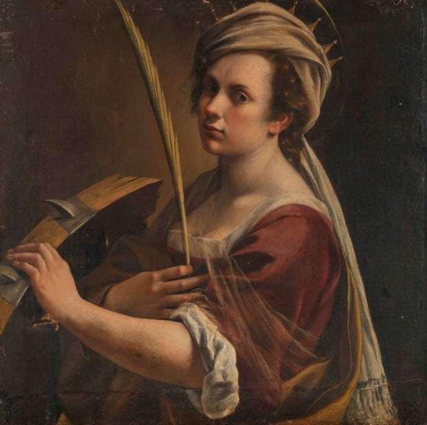 Autoportrait en tant que Sainte Catherine d'Alexandrie, par Artemisia Gentileschi (vers 1615). Le tableau a été acquis par la National Gallery en juillet 2018.