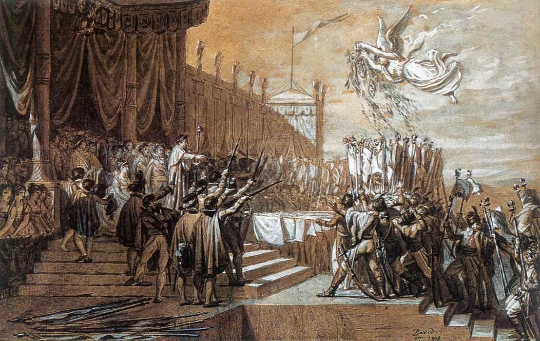 Jacques-Louis David, étude pour la Distribution des Aigles, 1808, encre noire, lavis gris et rehauts de blanc, image © Musée du Louvre via Web Gallery of Art