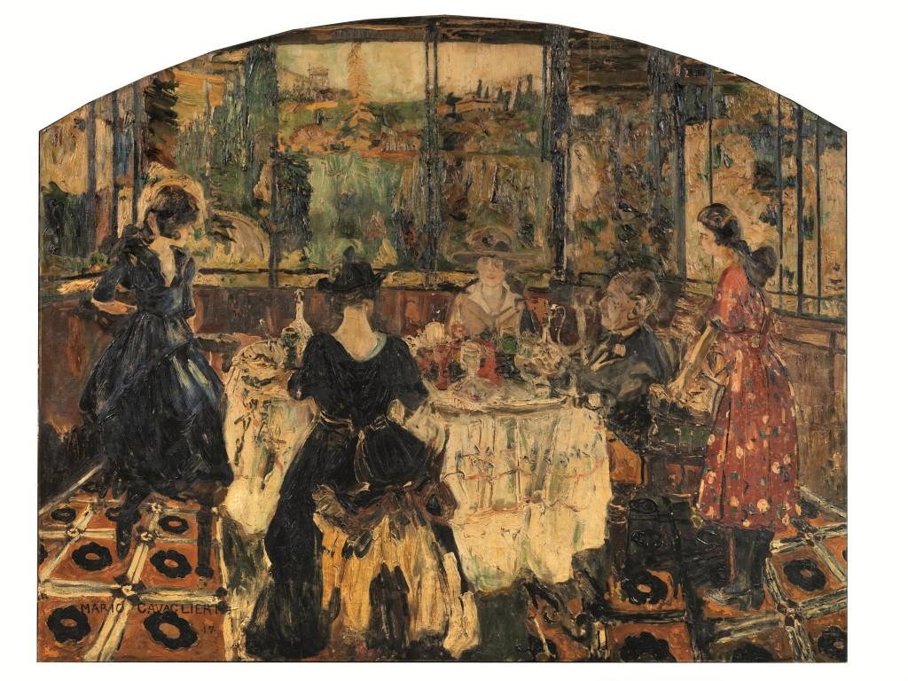 MARIO CAVAGLIERI (Rovigo 1887 - Peyloubere, Francia 1969) - La famiglia Cavaglieri, Öl/Lwd., 210 x 261 cm, signiert und datiert, 1917 Schätzpreis: 55.000-70.000 EUR