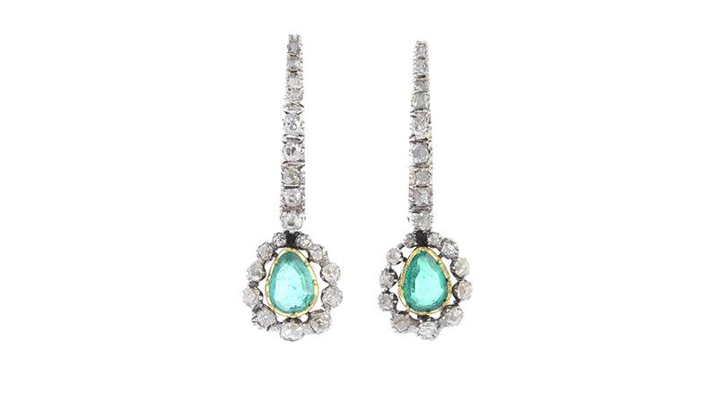 Spätgeorgianische Ohrringe mit kolumbianischen Smaragden und Diamanten
