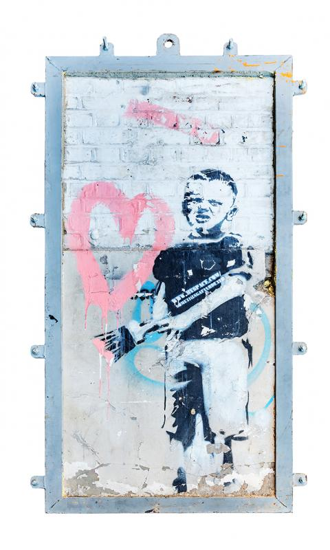 Banksy, Heart Boy, 2009. Black aerosol stencil and pink acrylic on concrete and white-washed brick 86
