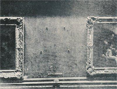 L'emplacement de la Joconde au Louvre en 1911 après le vol Image via lesyeuxdargus.wordpress.com