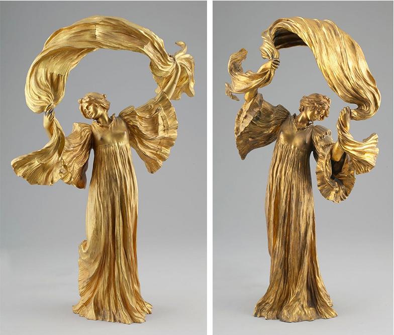 """AGATHON LÉONARD (1841 Lille - 1923 Paris) Links: Tischlampe """"Danseuse à l'écharpe"""", vergoldete Bronze, signiert Rechts: Tischlampe """"Danseuse à l'écharpe"""", vergoldete Bronze, signiert"""