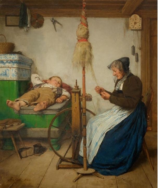 ALBERT ANKER, Grossmutter am Spinnrad und schlafender Knabe auf Ofenbank, 81 x 65 cm, signé et daté 1883 Estimation: 900 000-1400 000 CHF