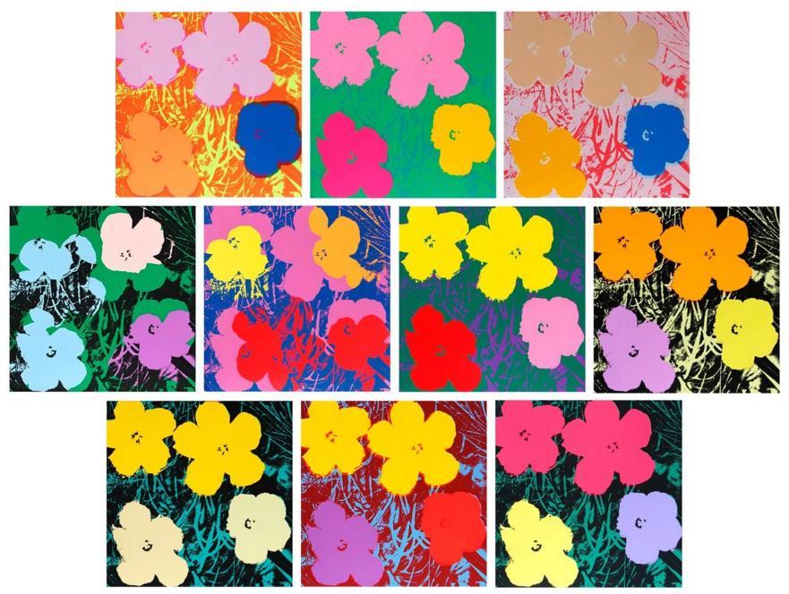 « Flowers » – Portfolio de 10 lithographies, Museum Board Paper D'après Andy Warhol Accademia Fine Art