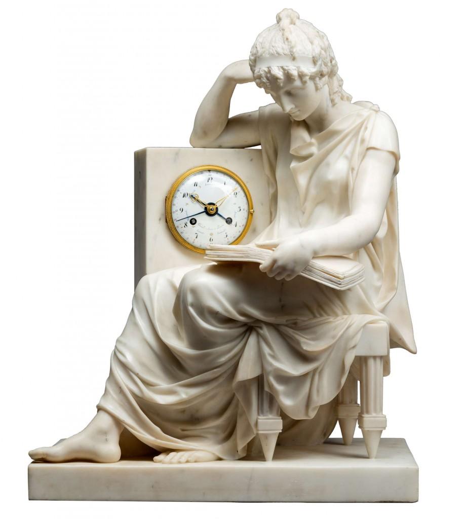 Attribuée à Pierre Julien (1731-1804), « Sculpteur du Roi » Importante pendule néoclassique en marbre blanc Epoque Louis XVI, Fin du XVIIIe siècle, v. 1791 La Pendulerie