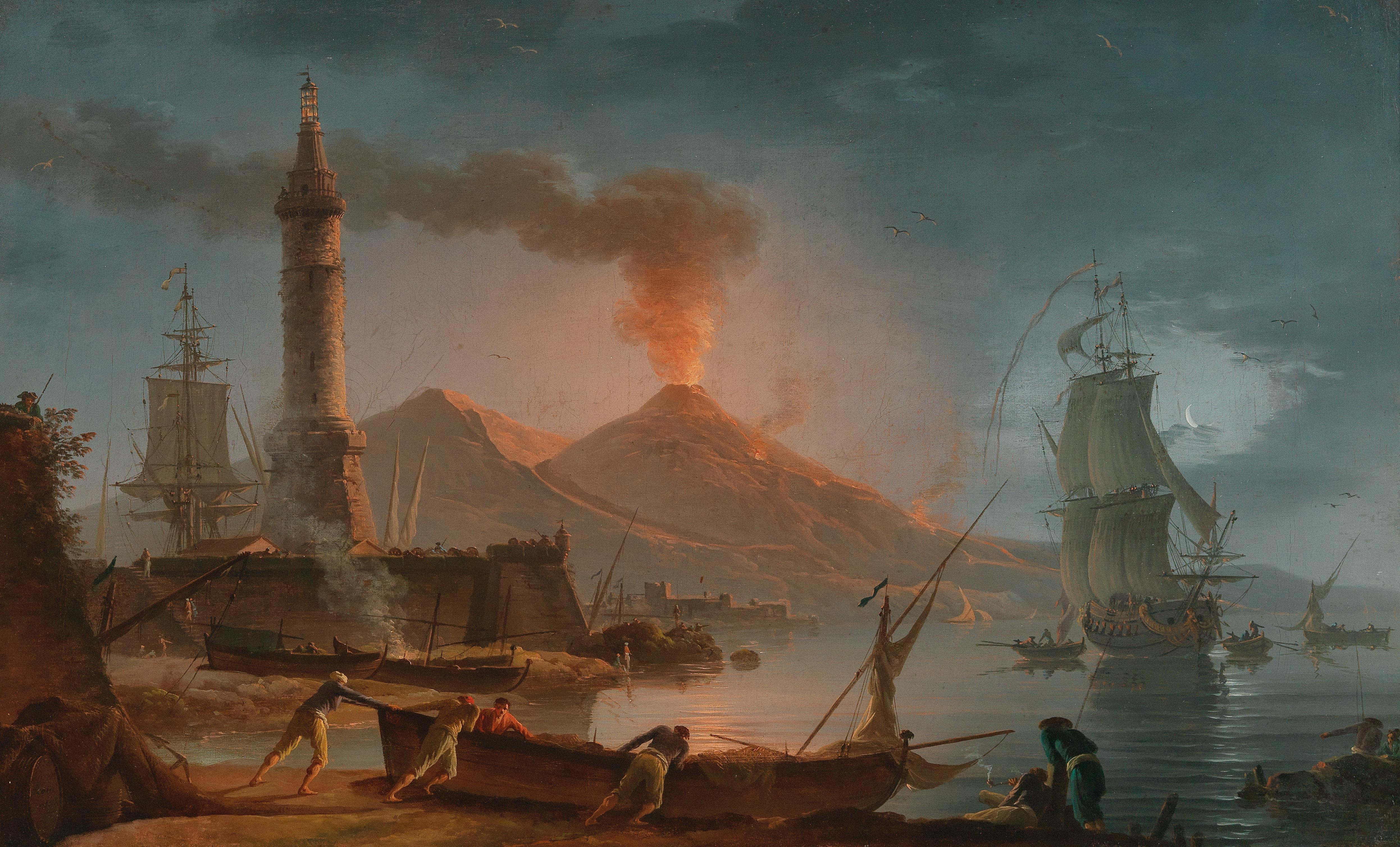 CHARLES FRANÇOIS GRENIER DE LACROIX gen. LACROIX DE MARSEILLE (um 1700 Marseille – 1782 Berlin) - Blick auf den ausbrechenden Vesuv bei Nacht, Öl/Lwd., signiert und undeutlich datiert, Rom 176(?)