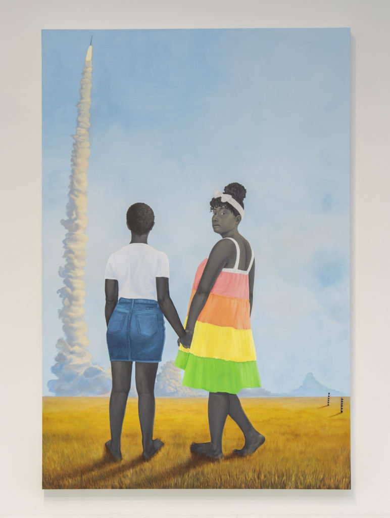 "AMY SHERALD. ""Planes, rockets, and the spaces in between"". Óleo sobre lienzo (2018)."