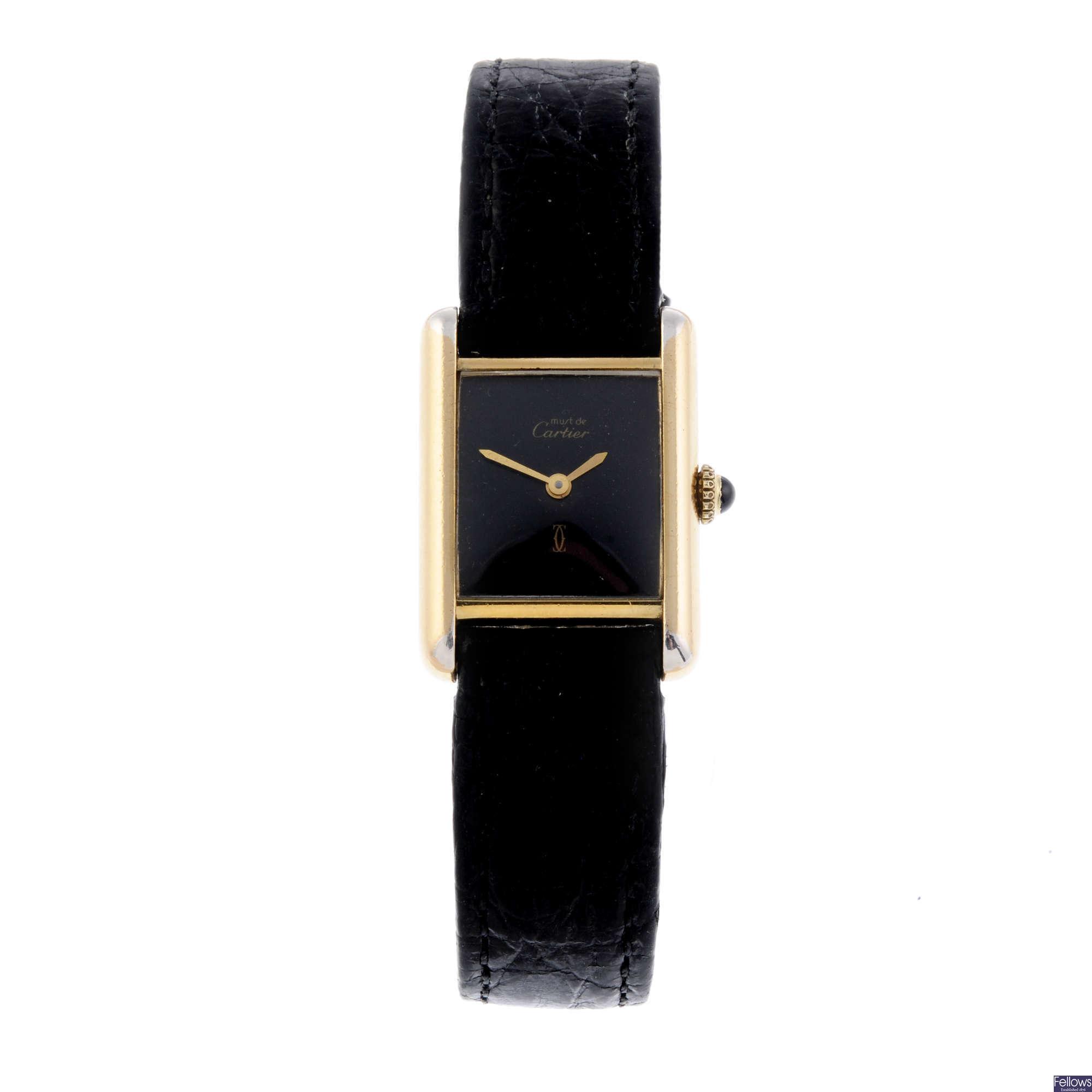Gold plated silver Must de Cartier wrist watch