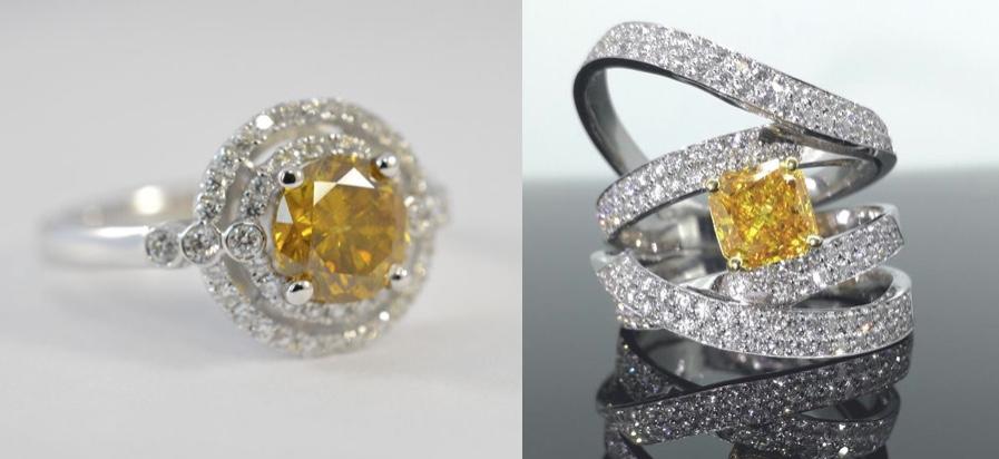 Links: Entourage-Ring aus Weißgold mit Diamantbesatz Rechts: Ring aus Weißgold mit 1 orangefarbenen Diamant und 122 weißen Diamanten