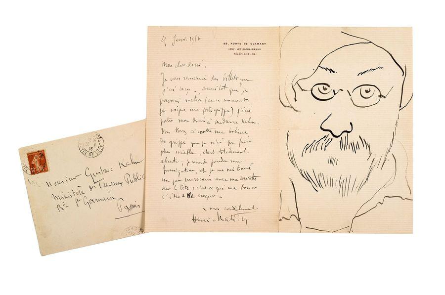 马蒂斯的自画像,创作于1916年1月25日,地点于Gustave Kahn,照片来自于Aguttes拍卖行