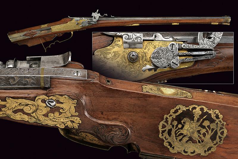 Ett väldigt intressant hjullås-gevär ingraverat med blommotiv. Utrop: 138 000 SEK