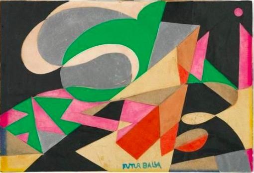 Giacomo Balla, (1871–1958) « Motivo con la parola FAZZOLETTI », c. 1916, image ©Dorotheum