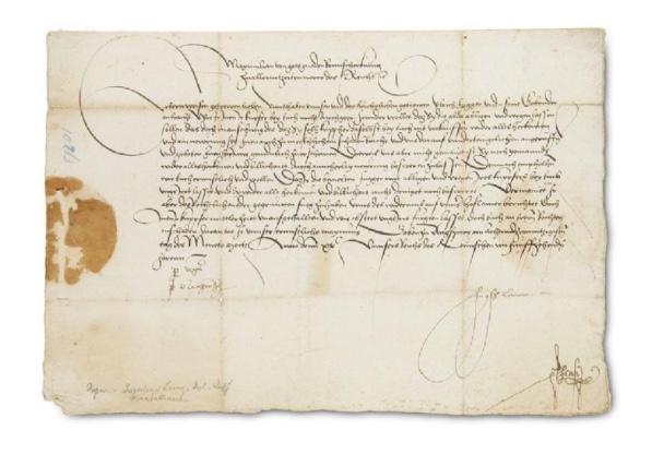 KAISER MAXIMILIAN I. Schreiben an den Bürgermeister und Rat zu Neuenstadt. Augsburg, 28. Mai 1500