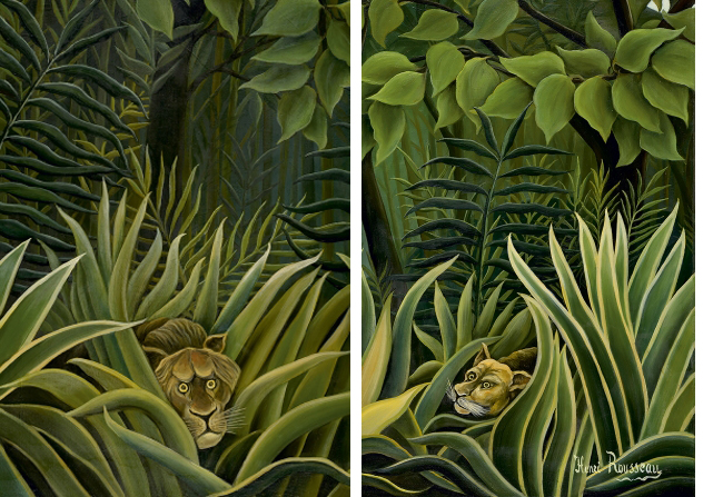 Détail, Deux lions à l'affût dans la jungle, Henri Rousseau, circa 1909-1910, Huile sur toile
