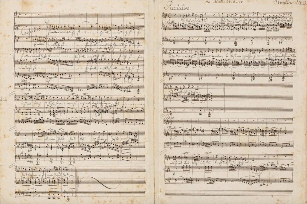 FELIX MENDELSSOHN-BARTHOLDY (1809-1847) - Personal music manuscript: St. Matthew Passion by Johann Sebastian Bach, 6 1/2 pages, spring 1830