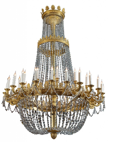 Attribué à Gilbert-Honoré Chaumont (1790-1868) Monumental lustre à trente-six lumières en bronze ciselé et doré et cristaux de Montcenis Paris, époque Empire, vers 1820 La Pendulerie